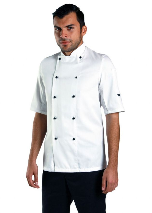 Denny's Removable Stud Lightweight Short Sleeve Chef's Jacket
